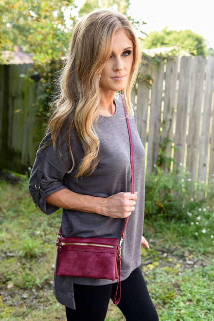 Faux Leather 3 in 1 Handbag - Burgundy - FINAL SALE