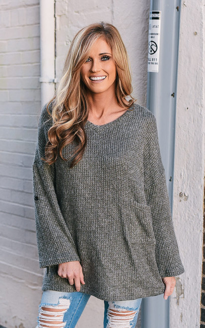 Roll Tab Pullover Sweater - Steel Olive - FINAL SALE