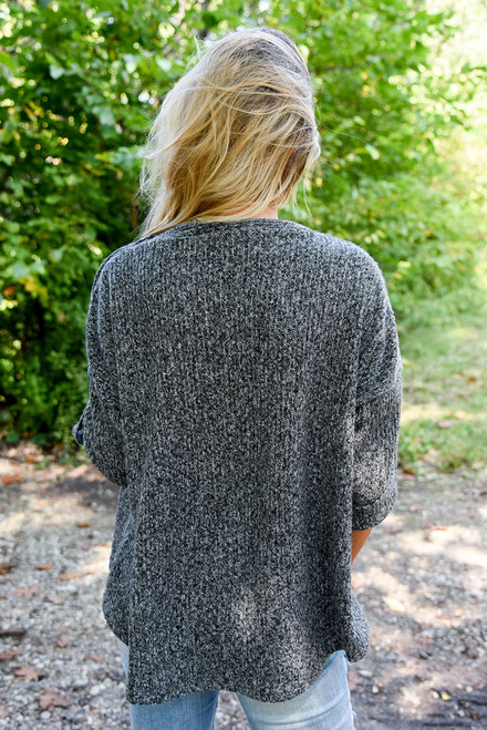 Button Detail Sweater - Heather Charcoal - FINAL SALE