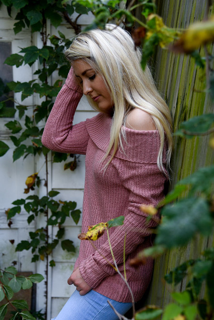 Ribbed Off the Shoulder Sweater - Rose - FINAL SALE