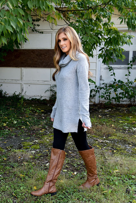 Ribbed Turtleneck Sweater - Heather Grey