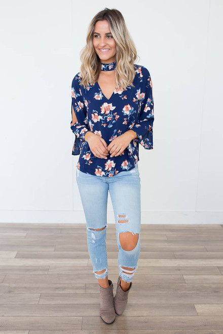 Floral Print Keyhole Choker Top - Navy Multi