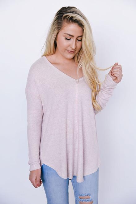 Soft Brushed V-Neck Top - Pale Pink - FINAL SALE