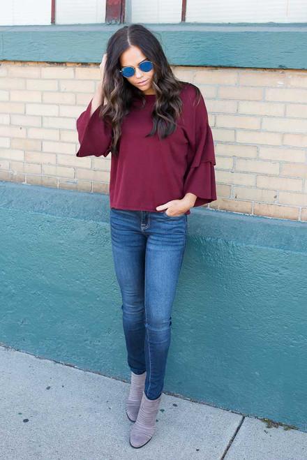 Ruffle Bell Sleeve Sweater - Burgundy