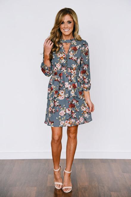 Floral Button Peplum Dress - Grey