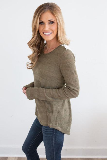 Lace Detail Tulip Back Top - Olive