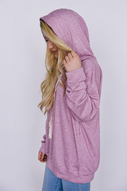 Hooded Sweatshirt - Heather Raspberry - FINAL SALE