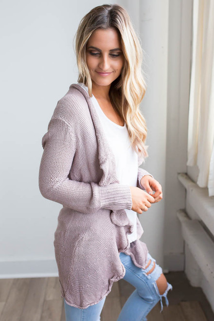 Ruffle Draped Front Cardigan - Dusty Pink - FINAL SALE
