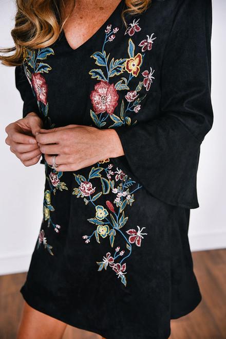 Floral Embroidered Suede Dress - Black
