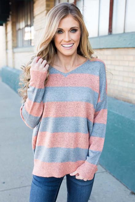 Criss Cross Striped Sweater - Grey/Peach