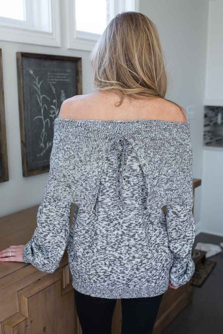 Off the Shoulder Marbled Sweater - Grey