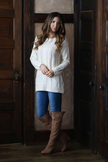 Vail Cable Knit Sweater - Ivory - FINAL SALE