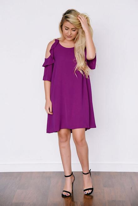 Ruffle Drop Shoulder Dress - Berry Magenta