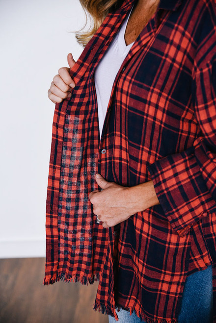 Frayed Roll Tab Plaid Top - Red/Navy - FINAL SALE