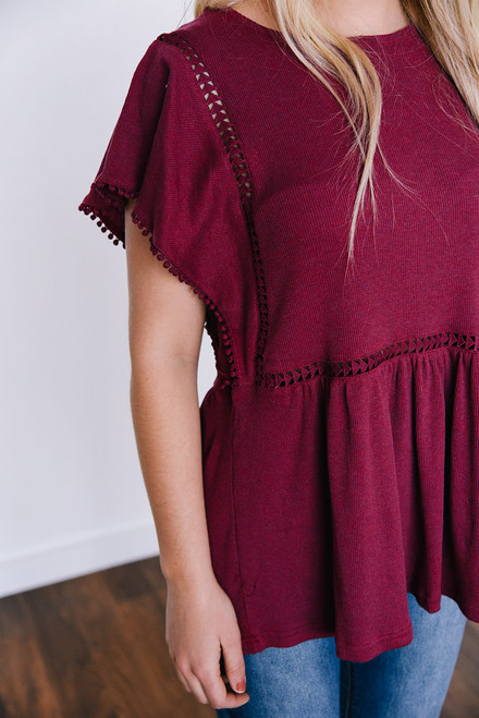 Ribbed Flutter Sleeve Top - Berry Kiss - FINAL SALE