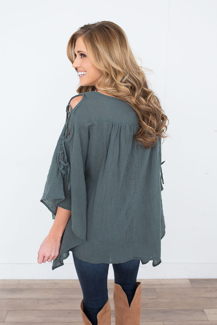 Lace Up Kimono Sleeve Top - Pine