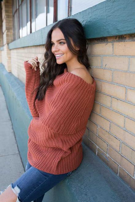 Off the Shoulder Sweater - Harvest Pumpkin - FINAL SALE