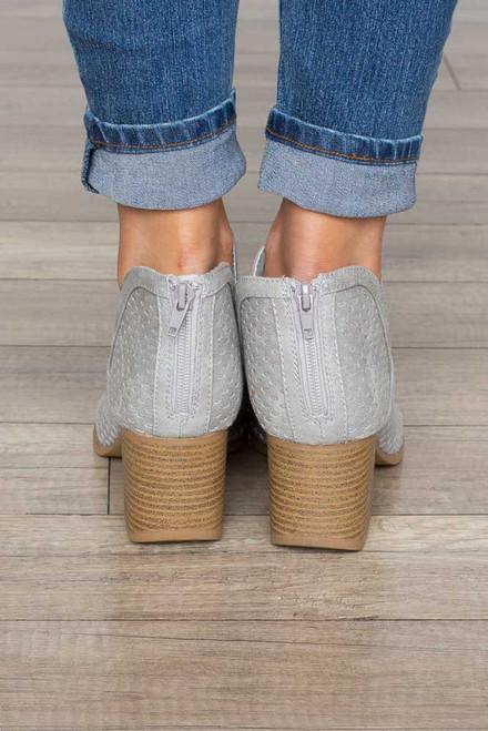 Cutout Peep Toe Booties - Light Grey