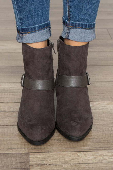 Thrill Ride Buckle Booties - Charcoal