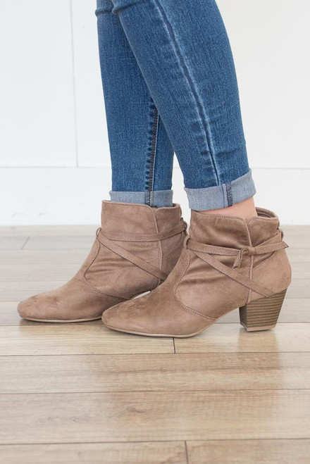Tie Me Up Suede Booties - Taupe