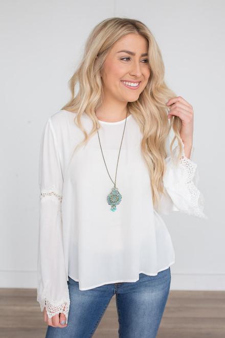 Scalloped Crochet Detail Blouse - White  - FINAL SALE