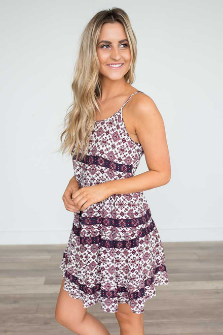 Printed Tiered Dress - Berry Multi  - FINAL SALE