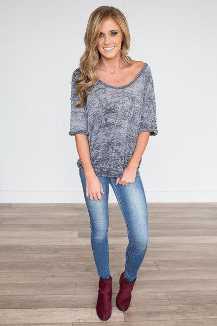 Burnout Cuffed Tee - Charcoal - FINAL SALE