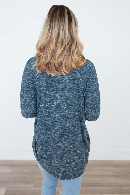 Two-Tone Ribbed V-Neck Top - Teal