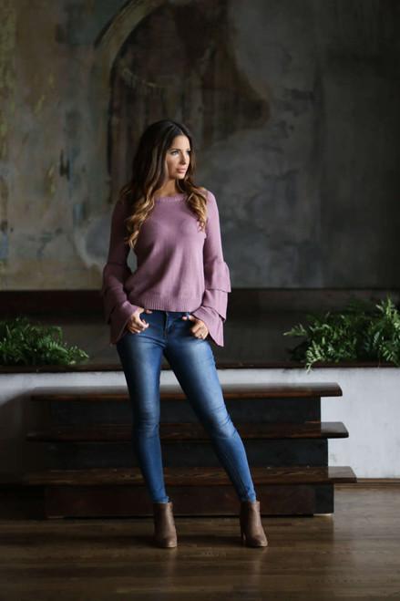 Ruffle Sleeve Sweater - Dusty Purple - FINAL SALE