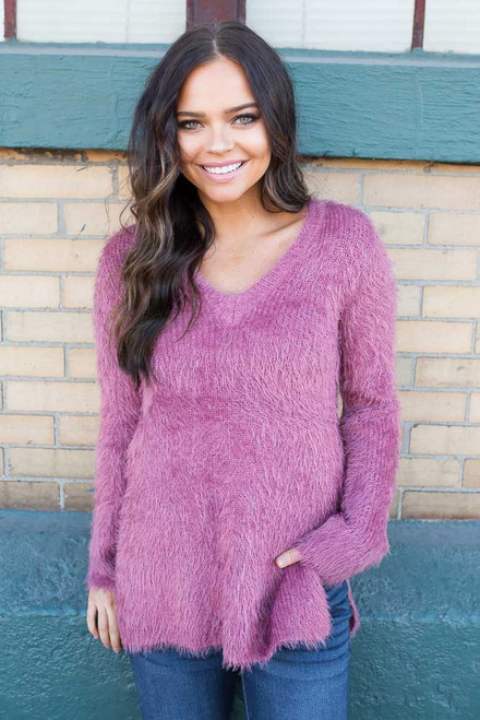 BB Dakota Pam Eyelash Sweater - Rose
