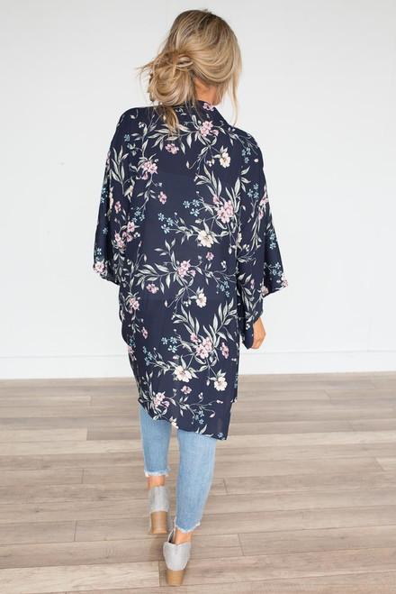Garden Party Kimono - Navy Multi - FINAL SALE