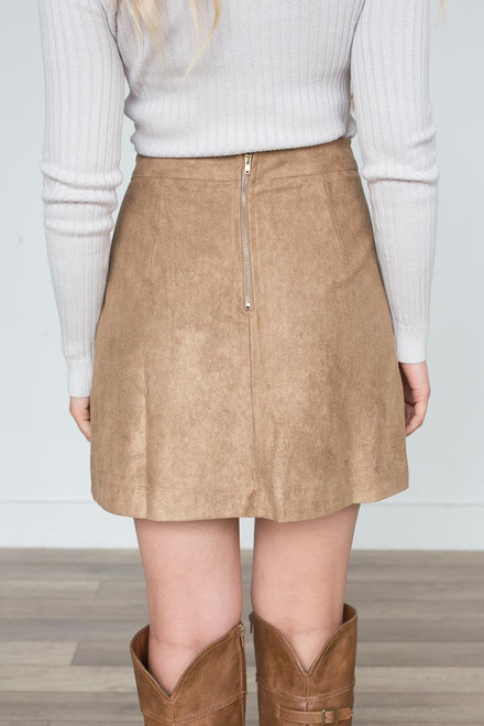 Faux Suede Lace Up Skirt – Taupe - FINAL SALE