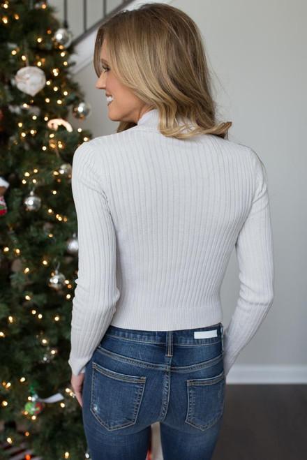 Lightweight Mock Neck Crop Sweater - Stone - FINAL SALE