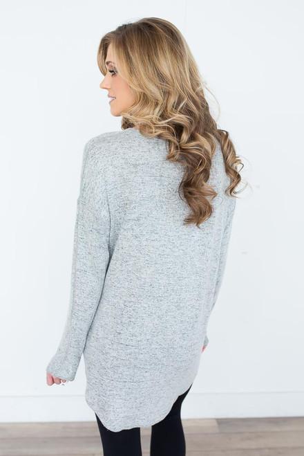 Soft Brushed V-Neck Top - Heather Grey