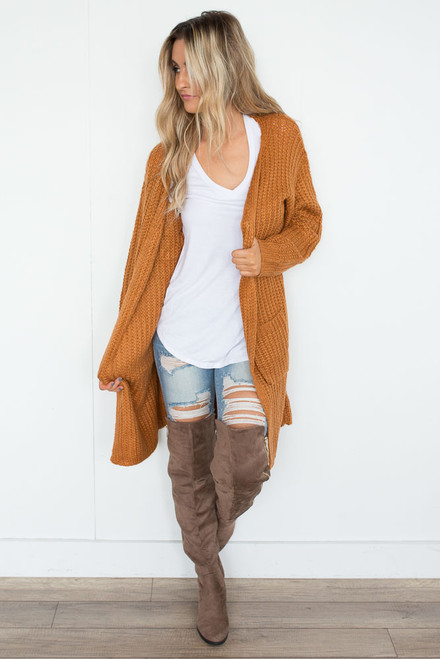 Autumn Blaze Cardigan - Russet Orange