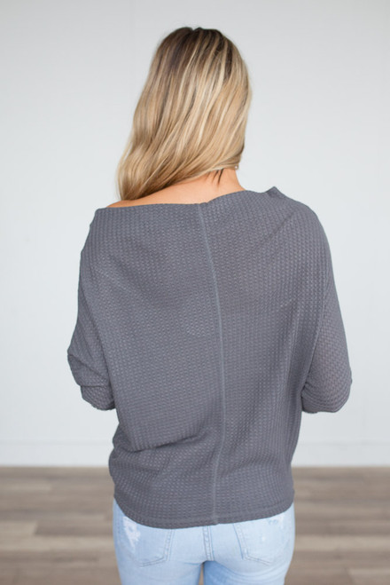 Waffle Knit Boatneck Top - Charcoal - FINAL SALE