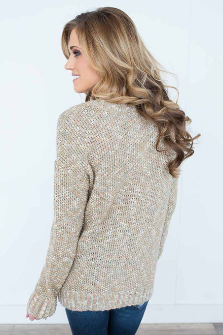 Fall Foliage Cable Knit Sweater - Sage Multi