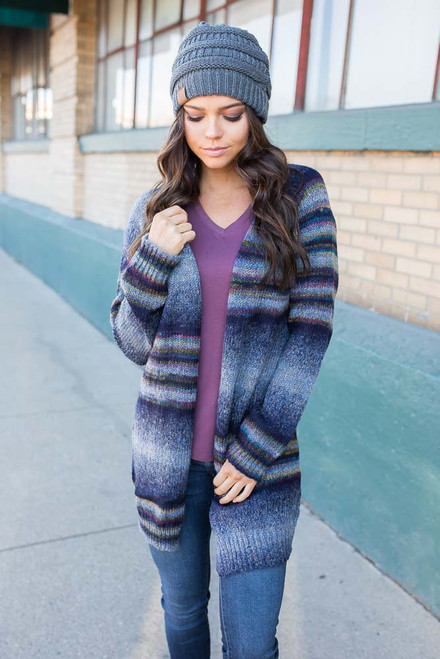 Geneva Striped Cardigan - Navy Multi