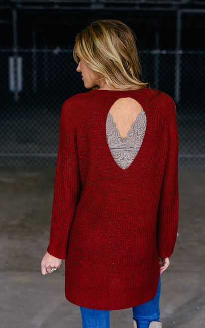 Keyhole Back Sweater Tunic - Crimson - FINAL SALE