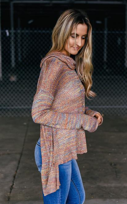 Layered Back Turtleneck Sweater - Multi - FINAL SALE