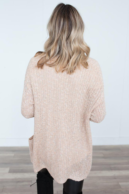 Two Tone Pocket Cardigan - Tan