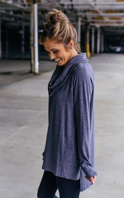 Cowl Neck Sweatshirt - Heather Slate - FINAL SALE