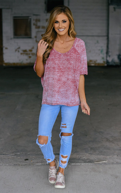 Burnout Cuffed Tee - Mauve - FINAL SALE