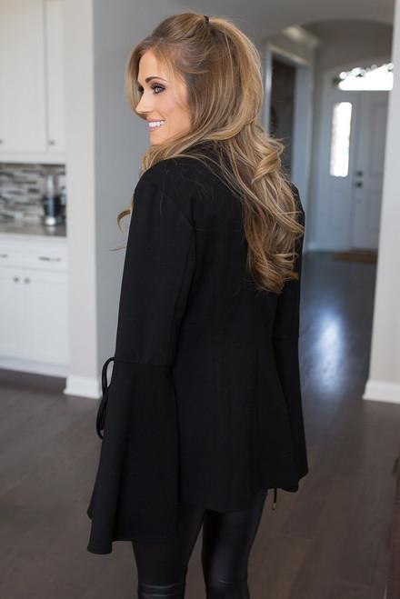 Open Bell Sleeve Blazer - Black