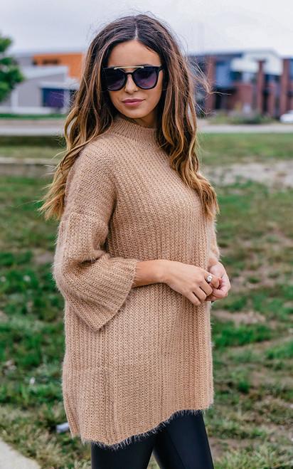 Mock Neck Fuzzy Sweater - Gold  - FINAL SALE