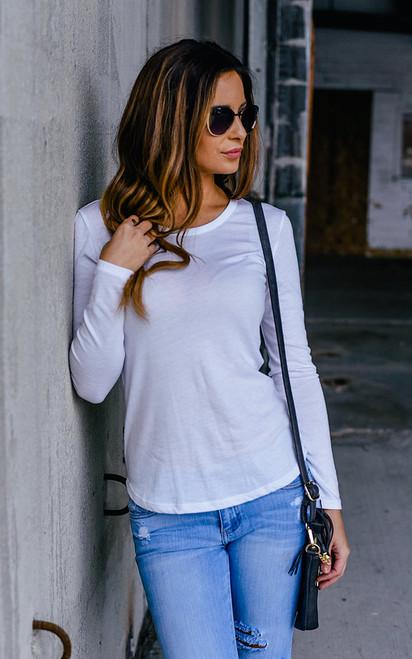 Long Sleeve Basic Tee - White
