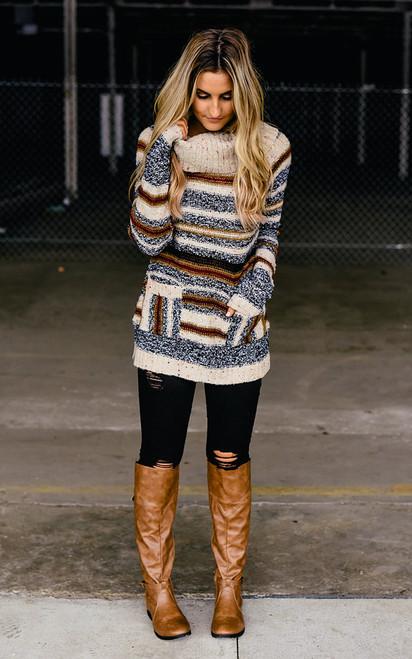 Striped Turtleneck Confetti Sweater - Beige Multi - FINAL SALE