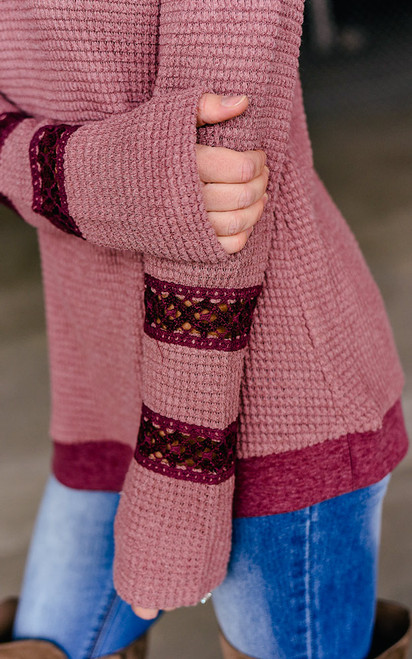 Thermal Crochet Detail Top - Canyon Rose