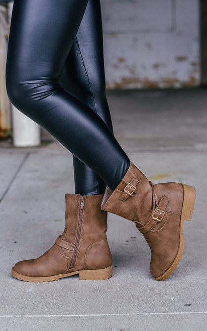 Distressed Moto Boots - Brown