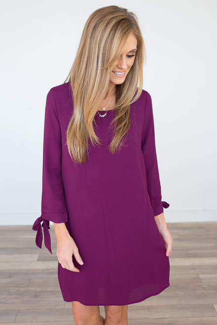 Tie Sleeve Sheath Dress - Plum
